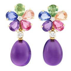 Bulgari Diamond Sapphire Amethyst Yellow Gold Flower Earrings