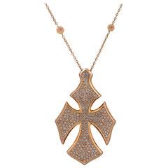 Italian 2 Carat Diamond Cross Necklace