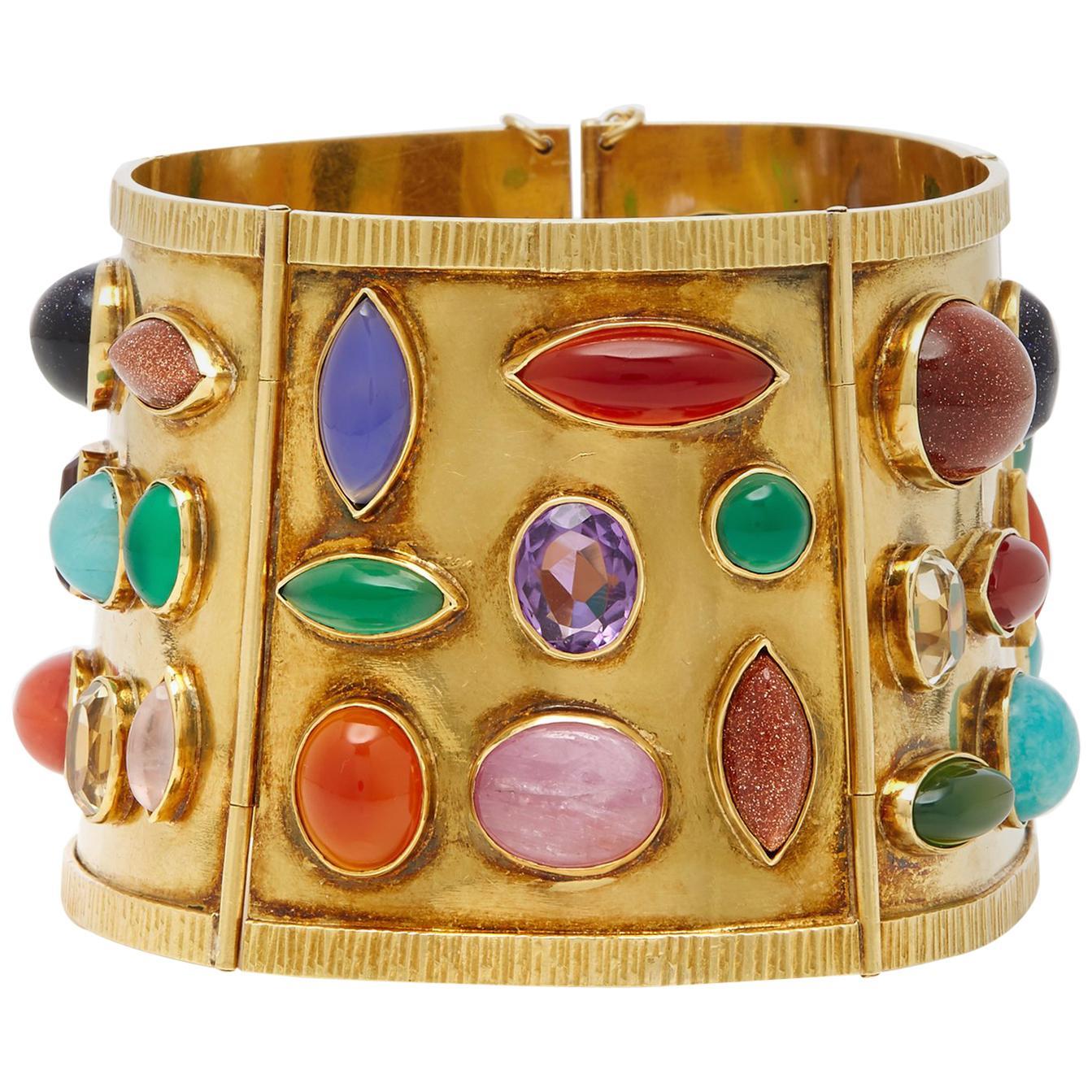 Sanz Multi-Color Gemstone Gold Bracelet