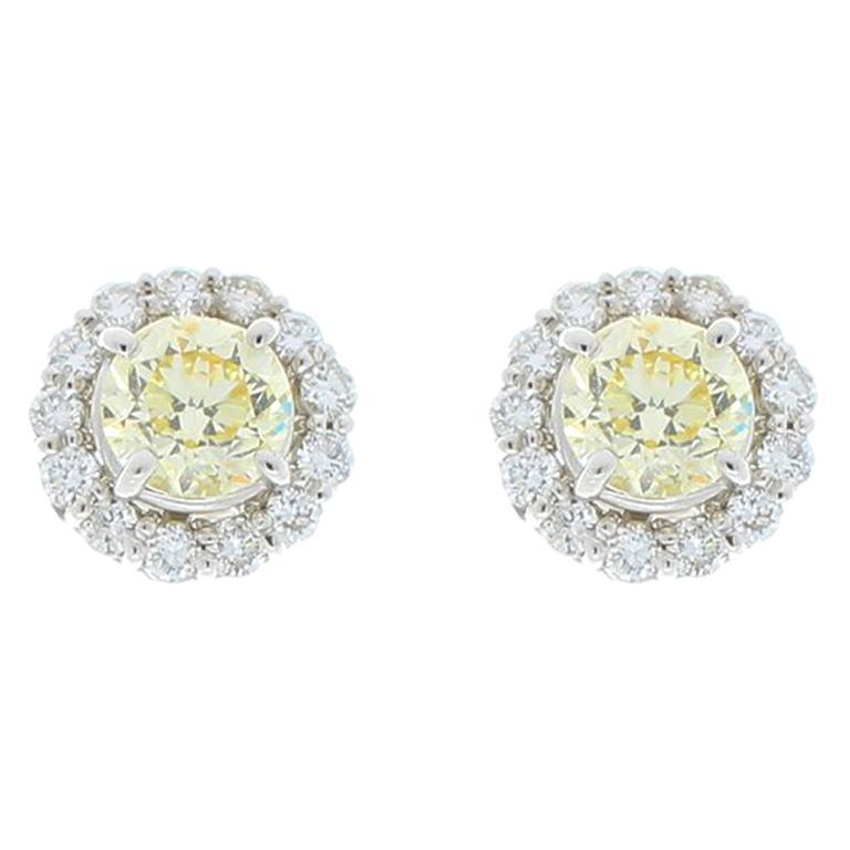 c836437f340 2.06 Carat Total Yellow Diamonds Earrings with EGL USA Certified Diamond  Halo For Sale