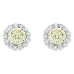 2.06 Carat Total Yellow Diamonds Earrings with EGL USA Certified Diamond Halo