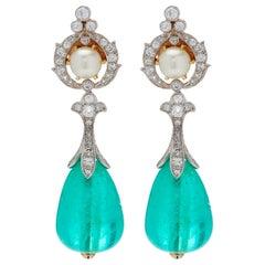 Antique Emerald Natural Pearl Diamonds Ear Pendants