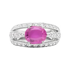 2.36 Carat Pink Sapphire and Diamond Ring 18 Karat White Gold