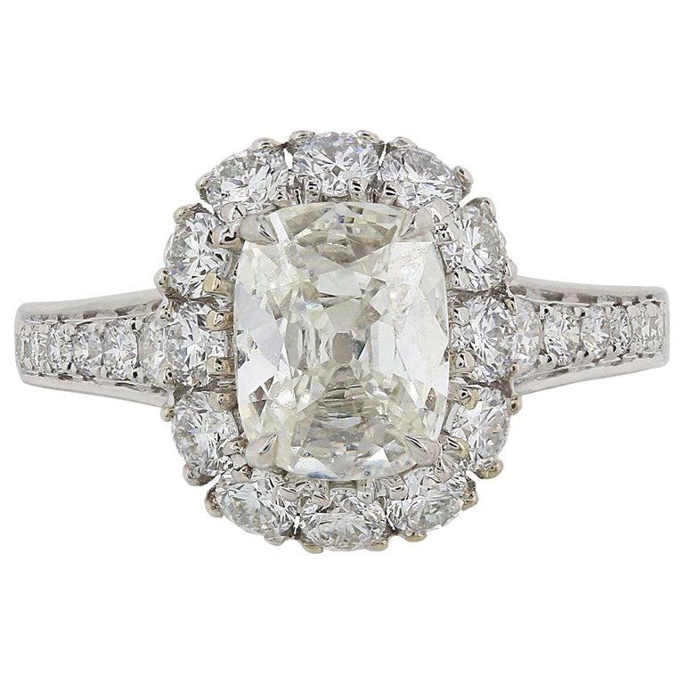 1.40 Carat Cushion Cut Diamond Ring 18 Karat White Gold For Sale