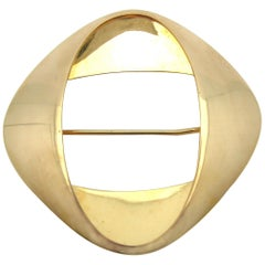 Georg Jensen Midcentury Abstract Brooch 18 Karat Gold