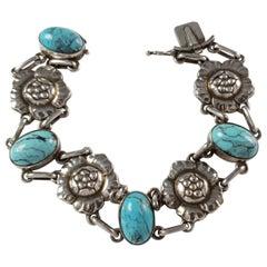 "Georg Jensen Silver Turquoise ""Blossom"" Bracelet No. 12"