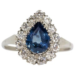 Spectacular Platinum Sapphire and Diamonds Pear Shape Ring