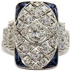 Glühende Platin Diamanten und Saphiren Ring