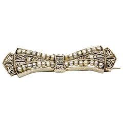 Verführerische Art Deco Platin Perlen und Diamanten-Pin