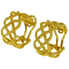 Gianmaria Buccellati 18 Karat Yellow Gold Crepe De Chine Design Hoop Earrings