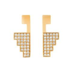 Maison Tjoeng La Azteca 18 Karat Yellow Gold and Diamond Earring