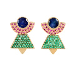 Maison Tjoeng Boheme Earring with Blue and Pink Sapphire and Emeralds