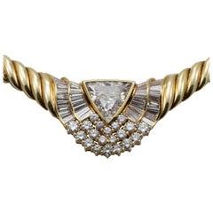 18 Karat Yellow Gold Ladies Diamond Necklace 8.37 Total Diamond Weight