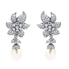 David Webb Platinum Diamond Day and Night Pearl Earrings