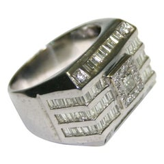 14 Karat White Gold Men's Diamond Signet Style Ring with 3.30 Total Carat Weight