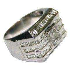 14 Karat White Gold Men's Diamond Signet Style Ring with 3.30 Total Carat Weight