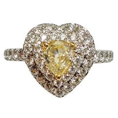 Fancy Yellow Diamond White Gold Engagement-Wedding Ring