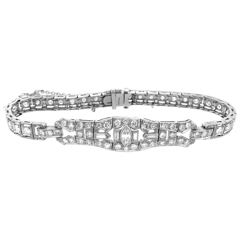 Platinum Diamond Art Deco Bracelet For Sale