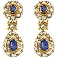 Mario Buccellati 18 Karat White and Yellow Gold Diamond and Sapphire Earrings