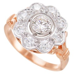 18ct Rose and White Gold two-tone Vintage-style Diamond Daisy Cluster Ring