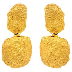Authentic Roberto Coin 18 Karat Yellow Gold Nugget Earrings