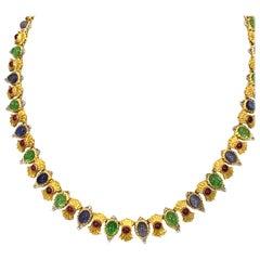 Buccellati 18 Karat Gold Peridot, Sapphire and Ruby Necklace