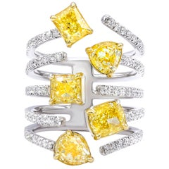 3.95 Carat Multi Shaped Fancy Yellow Diamond Ring