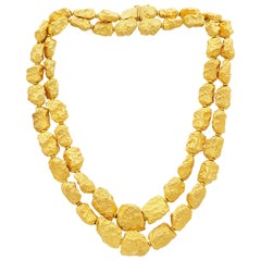 Roberto Coin Double Row 18 Karat Yellow Gold Nuggets Necklace