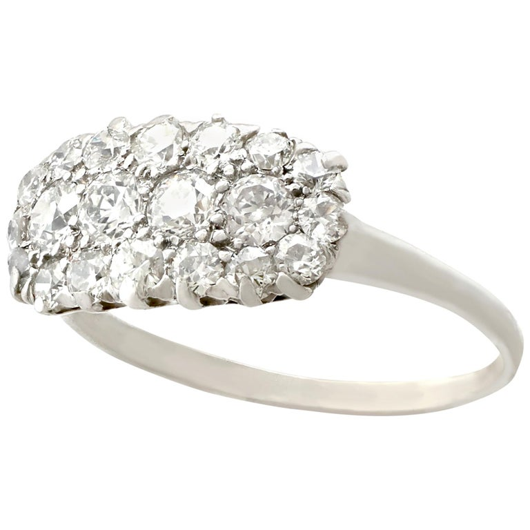 1920s Antique Diamond and Platinum Cluster Ring For Sale