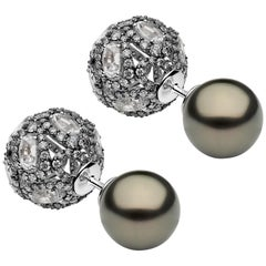 Yoko London Tahitian Pearl, White Sapphire & Diamond Earrings, in 18K Black Gold