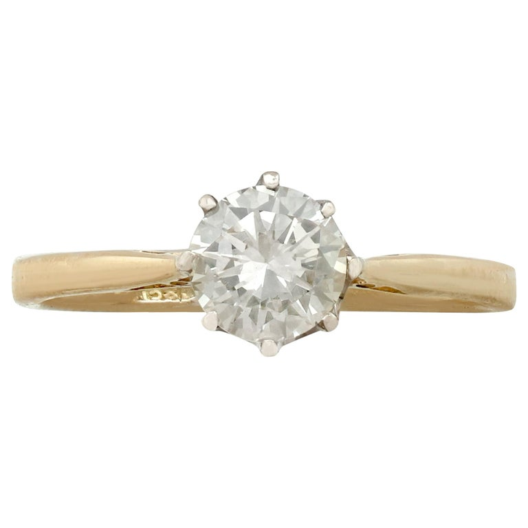 1980s Diamond and Yellow Gold White Gold Set Solitaire Ring  For Sale