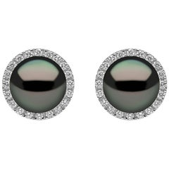 Yoko London Tahitian Pearl and Diamond Earrings, in 18 Karat White Gold