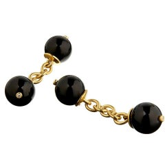 18 Carat Gold Vermeil Onyx Diamond Chain Cufflinks