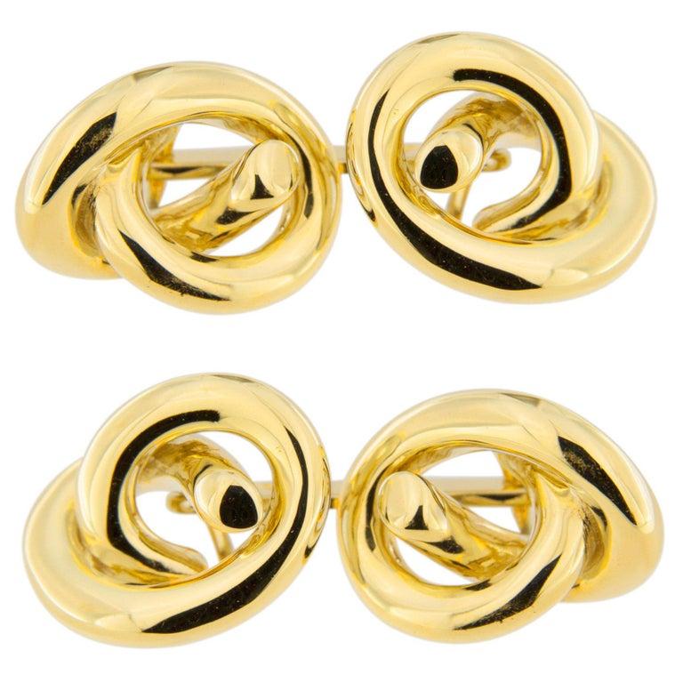 Jona Knot 18 Karat Yellow Gold Cufflinks For Sale
