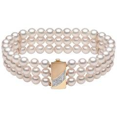 Yoko London Akoya Pearl and Diamond 3 Row Bracelet, in 18 Karat Yellow Gold