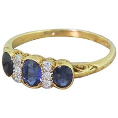 Edwardian 1.17 Carat Sapphire and Old Cut Diamond Trilogy Ring