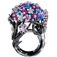 Sicis Bouquet Black White Diamond Sapphire Gold Cluster Cocktail Ring