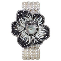 Stylish Wristwatch White Gold White & Black Diamonds Pearls Decorated NanoMosaic