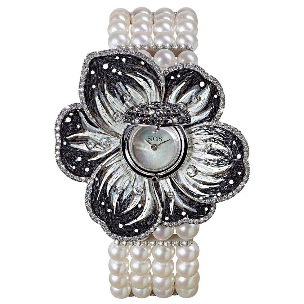 Stylish Wristwatch White Gold White & Black Diamonds Pearls Decorated NanoMosaic