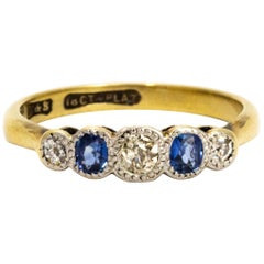 Edwardian Sapphire Diamond 18 Carat Gold and Platinum Ring