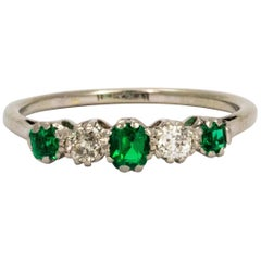 Edwardian Emerald and Diamond Platinum Band