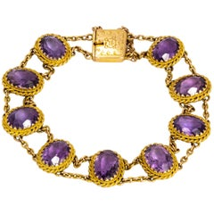 Edwardian Amethyst and 9 Carat Gold Bracelet
