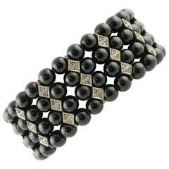 0.95 ct Diamonds, 23.15 ct Black Stones Rose Gold Silver Beaded Link Bracelet