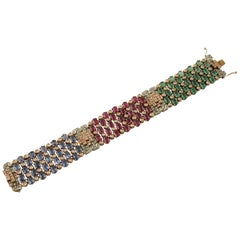 45.30 ct Rubies,Emeralds,Sapphires, 4.95 ct Diamonds Rose Gold Silver Bracelet