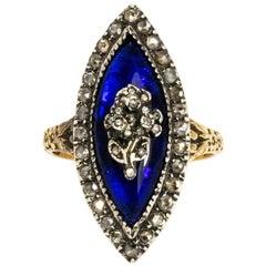 Georgischer Bristol Blue Glass und Diamant 18 Karat Gold Ring