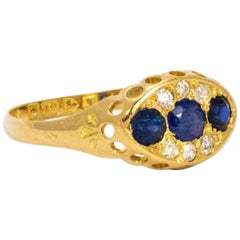 Edwardian Saphir und Diamant 18 Karat Gold Ring