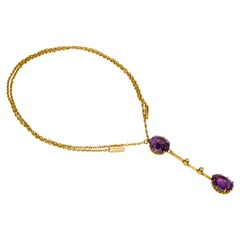 Edwardian Liberty & Co Amethyst Diamond and Gold Necklace in Original Fitted Box