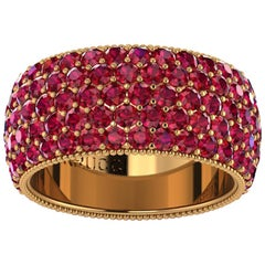 4.60 Carat Red Ruby wide band 18 Karat Yellow Gold
