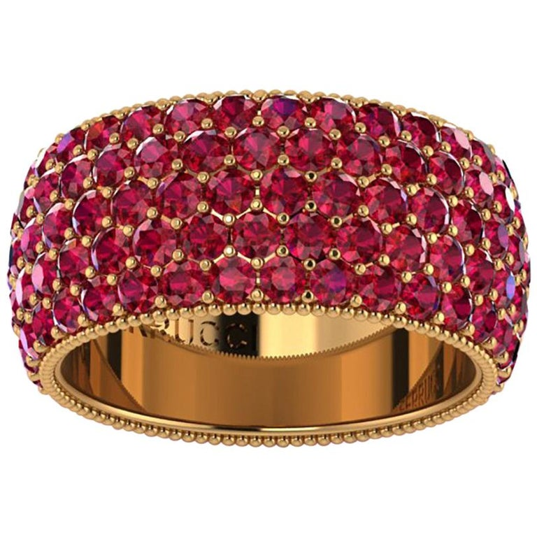 4.60 Carat Red Ruby wide band 18 Karat Yellow Gold For Sale
