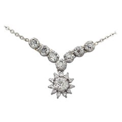 Antique 1920s 1.99 Carat Diamond and Silver Pendant